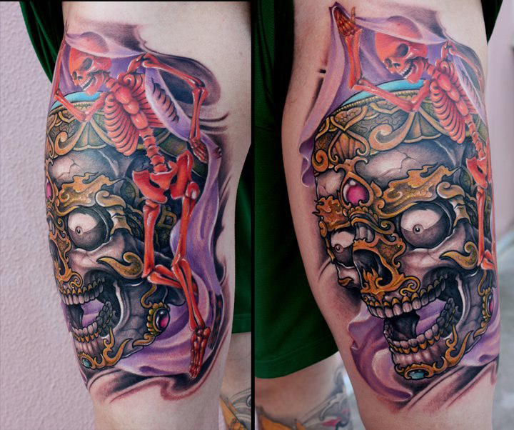 Elbow Skeletons traditional tattoo