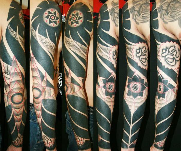 Ethnic Blackwork tattoo sleeve idea