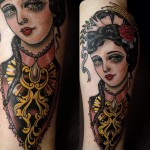 Fashionable Girl Look traditional tattoo