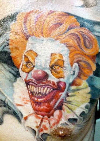 Feasting Evil Clown tattoo
