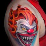 Fire Hair Evil Clown tattoo on Shoulder