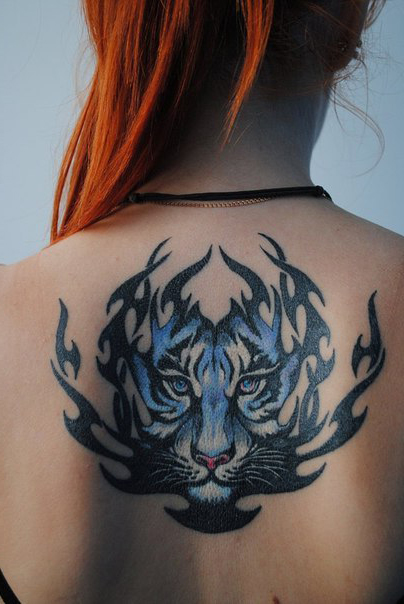 Flame blue tiger back tribal tattoo best tattoo ideas for Back tribal tattoo