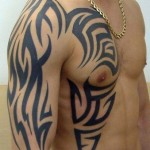 Flame man Shoulder tribal tattoo