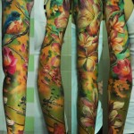 Flower Painting tattoo sleeve idea