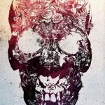 Flowered Ink Spot Skull