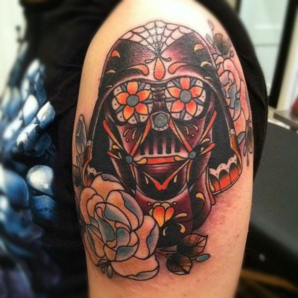 Flowery Vader Star Wars tattoo