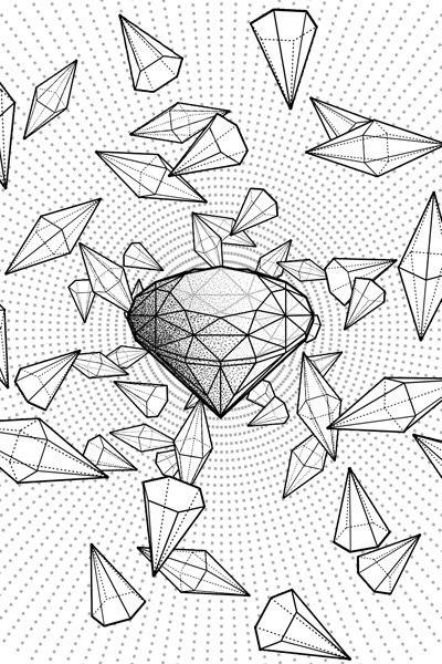 Fractal Dimonds dotwork tattoo