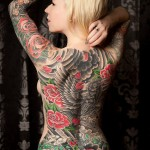 Full Back Rose raven japanese tattoo for girl