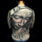 Full Back Stone Virgin Mary realistic tattoo