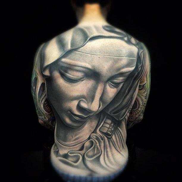 Full Back Stone Virgin Mary realistic tattoo