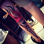 Full Leg Black Torch traditional tattoo