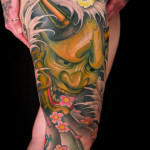 Full leg Hannya mask japanese tattoo