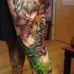 Furious Tiger japanese tattoo on leg