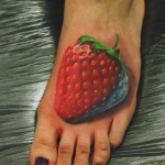 Giant Strawberry 3D tattoo on Fool