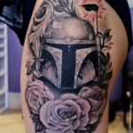 Graphic Boba Fett Star Wars tattoo on hip