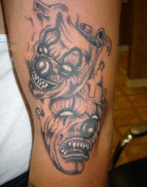 Graphic Theatre Masks Evil Clown tattoo