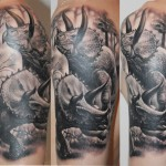 Graphic Triceratops Cpouple realistic tattoo