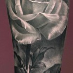 Graphic White Rose realistic tattoo Flower