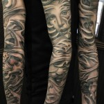 Graphic suffer tattoo sleeve idea