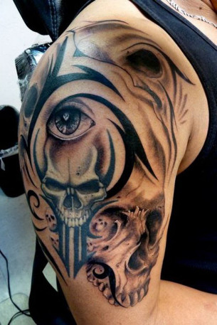 Graphic tribal scull tattoo design idea for men