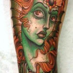 Green Fish Girl traditional tattoo