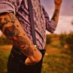 Grumpy Owl Fly Time Mushroom Hand tattoes