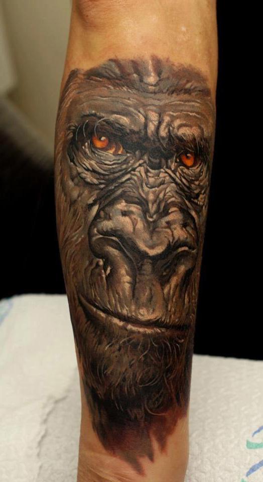Hand Gorilla realistic tattoo