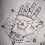 Hand Through dotwork tattoo