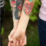 Hearts & Roses couple tattoos