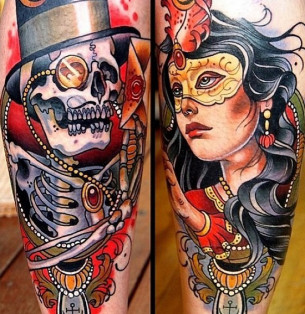 High Society Skeleton traditional tattoo
