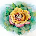 Human jaw rose drawing tattoo