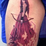 Hunter Queen realistic tattoo