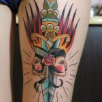Incredible Dagger faces traditional tattoo