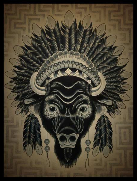 Indian Bison Dotwork tattoo