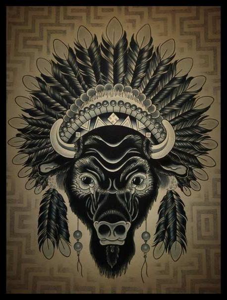 Indian Bison Dotwork tattoo