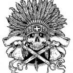 Indian Bone Axe Skull tattoo