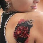 Ink Spot Rose on shoulder