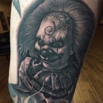 Insane Graphic Evil Clown tattoo