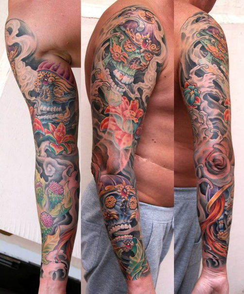 insane skull tattoo sleeve idea for men best tattoo ideas gallery. Black Bedroom Furniture Sets. Home Design Ideas