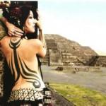 Jamanese moon tower girl tribal tattoo on back