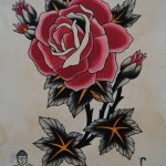 Japanese monk and rose drawing tattoo