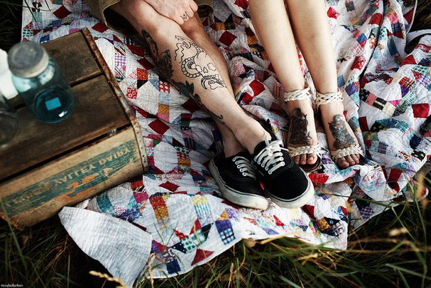 Legs couple tattoos