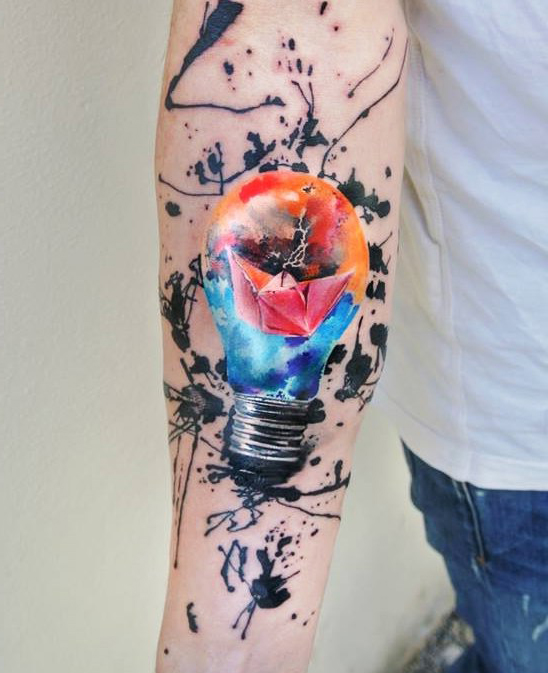 Light Bulb Journey tattoo