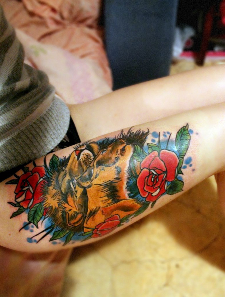 Lion Roses tattoo