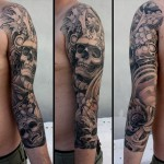 Lotus Skull japanese sleeve tattoo
