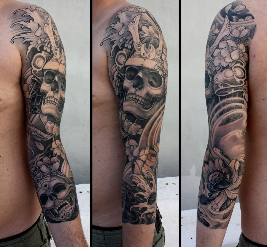 Lotus skull japanese sleeve tattoo best tattoo ideas gallery for Oriental tattoo