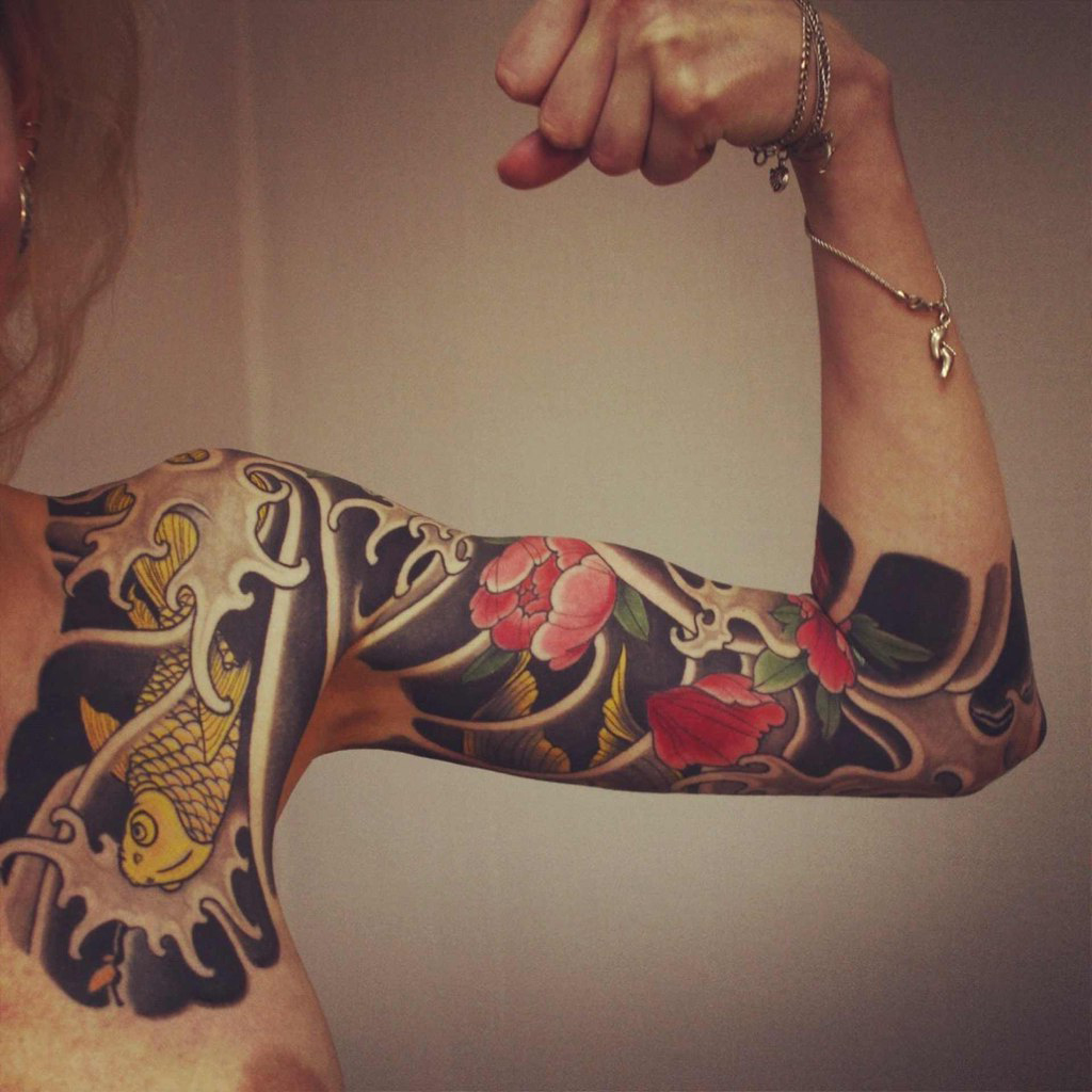 Lotus And Carp Japanese Sleeve Tattoo Best Tattoo Ideas Gallery