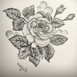 Love Rose dotwork tattoo