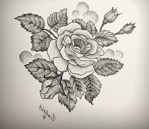 Love Rose Dotwork Tattoo Best Ideas Gallery
