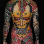 Maori sleeve mixed with Hannya Mask japanese tattoo